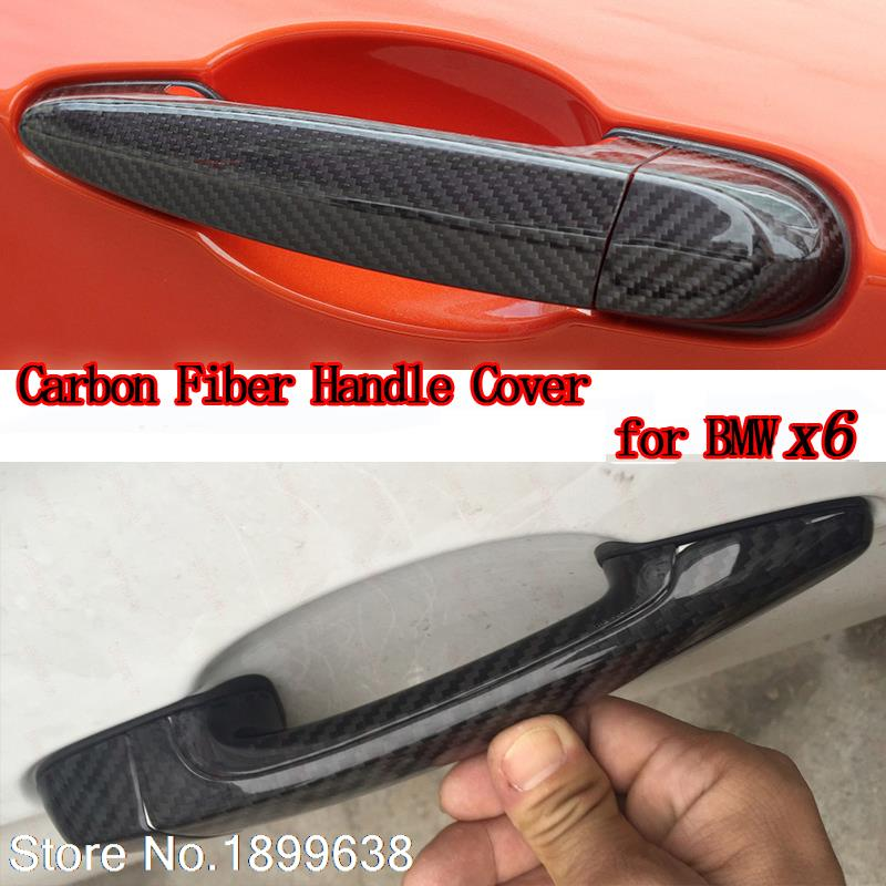 High quality carbon fiber material Plated Door Handle Car Sticker For BMW X6 E71 xDrive35i 50i x6m 40i m50d 2008-2013 nitro triple chrome plated abs mirror 4 door handle cover combo