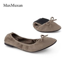e0a1a431372 Maxmuxun Women Winter Black Foldable Ballet Flats Elastic Bowtie Ballerina  Dolly Shoes After Party Flats For
