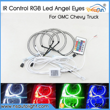 7-Color RGB LED Halo Ring Headlight Kit w/ Wireless Remote For GMC Chevy Truck