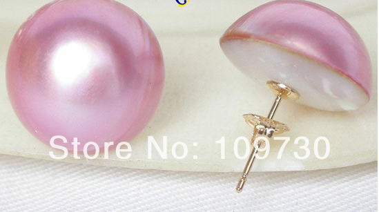 Ry00177 AAA 16mm réel rose Mer Du Sud Mabe Perles Boucles D'oreilles 14KGP or post - 2