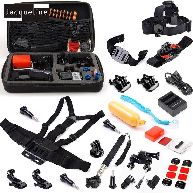 Jacqueline pour accessoires Sport lot Kit chargeur tête poitrine pour GoPro Hero4 noir/argent Hero 5 4 pour Go Pro Outdoor