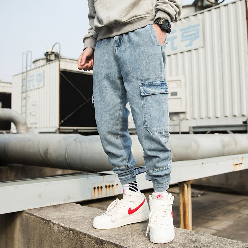 Vintage Fashion Washed Light Blue Denim Pants Men Hip Hop Cargo Pant Elastic Waist Joggers Jeans Male Harem Trousers