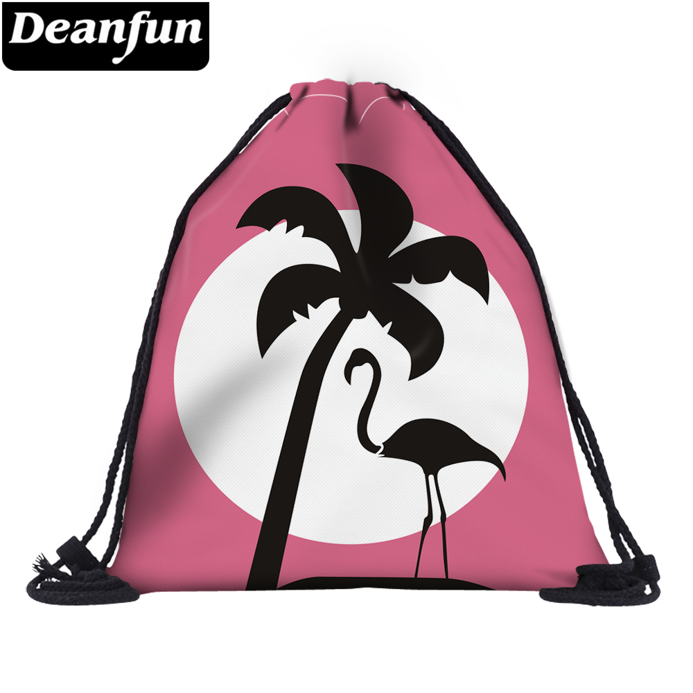 Deanfun 3D Printed Drawstring Bag Flamingo For Women Travelling On Beach 60142 #
