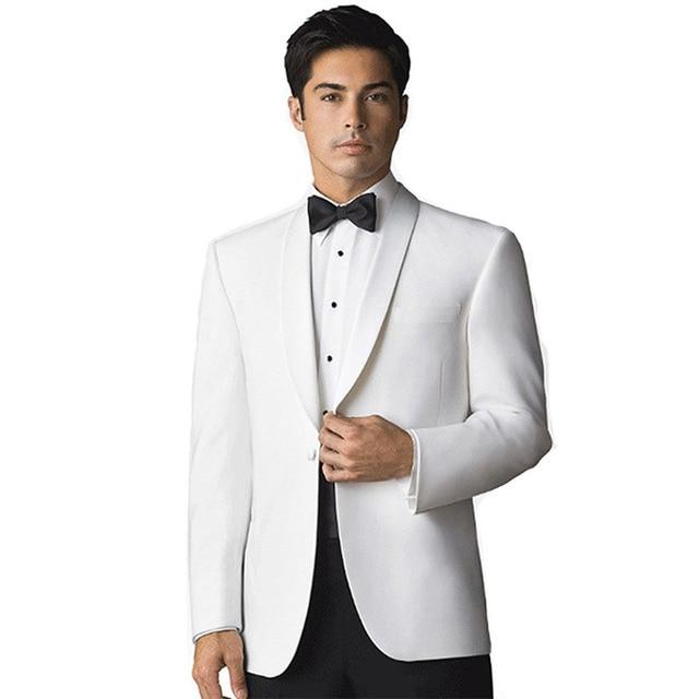 Tuxedos White Jacket black trousers Groomsmen Men Wedding Suits ...