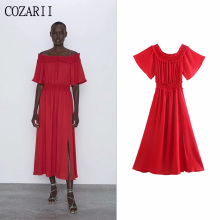 COZARII 2019 summer dress women vestidos sexy style solid slash neck half sleeve de fiesta party tops plus size