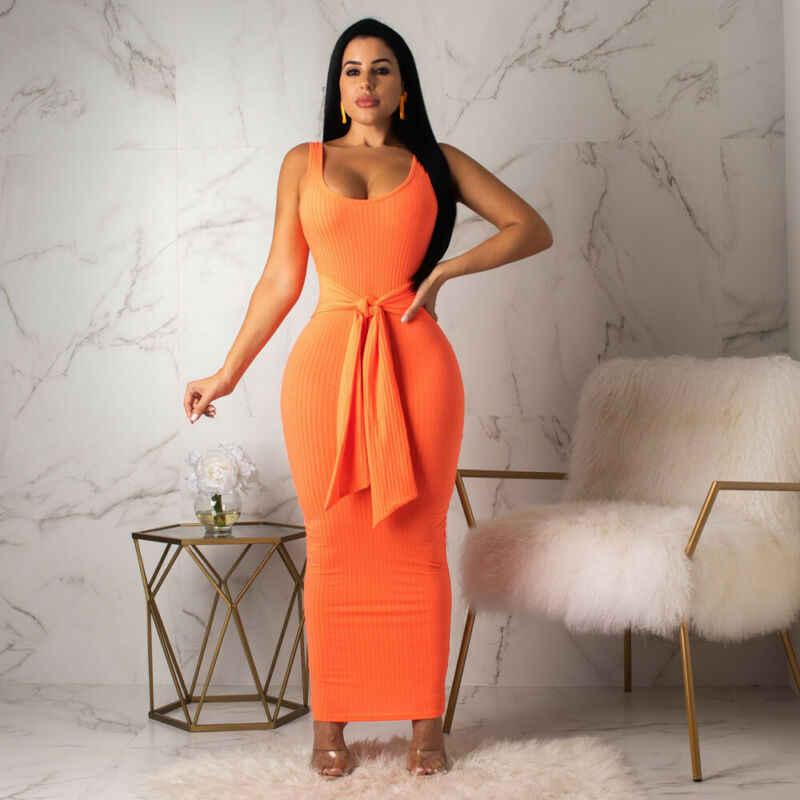 Женское летнее сексуальное Бандажное платье без рукавов, женское вечернее платье в повседневном стиле, облегающее длинное платье на бретелях