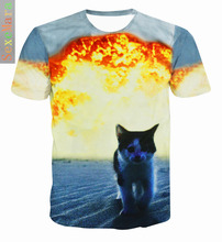 Fat White Cat Nebula Galaxy 3D Print T-Shirt Women Men tops Space Fashion Clothing Kitten Animal Funny tees t shirt