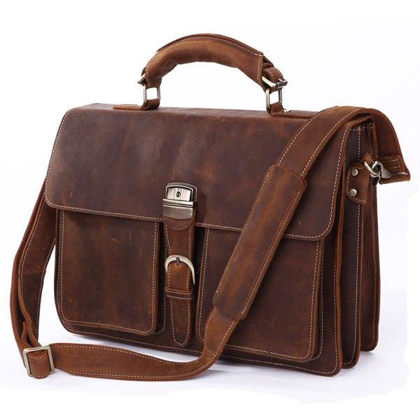 J.M.D Most Popular Rare Crazy Horse Leather Men's Messenger Bag Briefcase Bag Best Selling 7164R