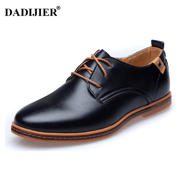 DADIJIER New 2017 Men Leather Shoes Casual Lace-up Shoes Black Brown Flat  Cheap Leather Loafers Oxford shoes ST52 39ec107f5f83