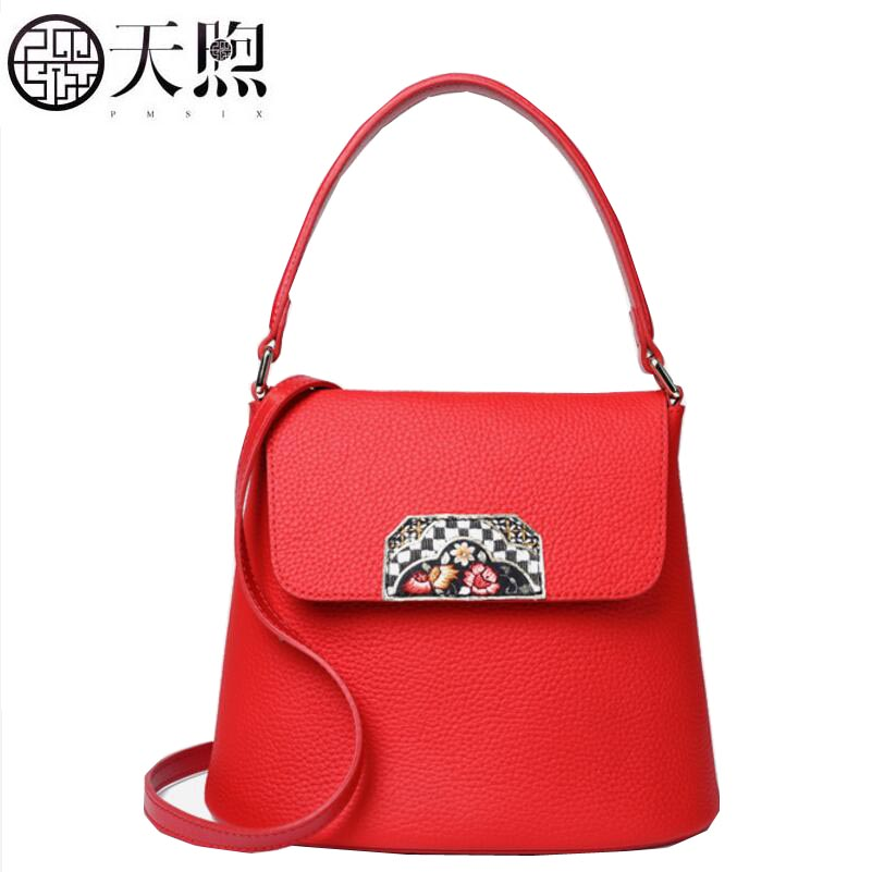 TMSIX 2018 New women genuine leather bags Cowhide bag tote women shoulder bag fashion designer handbags leather shoulder bags 2018 new fashion top handle bags women cowhide genuine leather handbags casual bucket bags women bags rivet shoulder bags 836