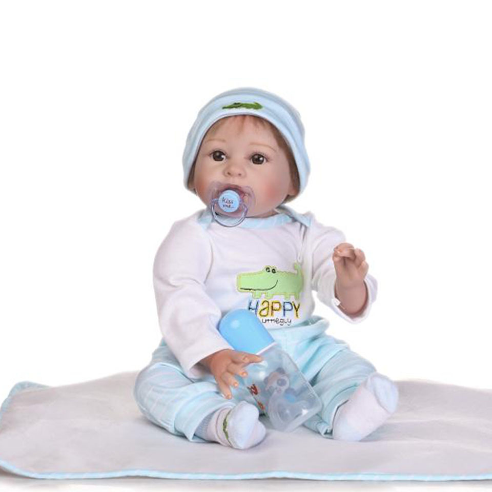 NPK Handmade Babies Reborn Dolls 22'' 55 cm Realistic Truly Soft Silicone Baby Doll Real Like Smiling Lovely bebe Infant Toys free shipping hot sale real silicon baby dolls 55cm 22inch npk brand lifelike lovely reborn dolls babies toys for children gift