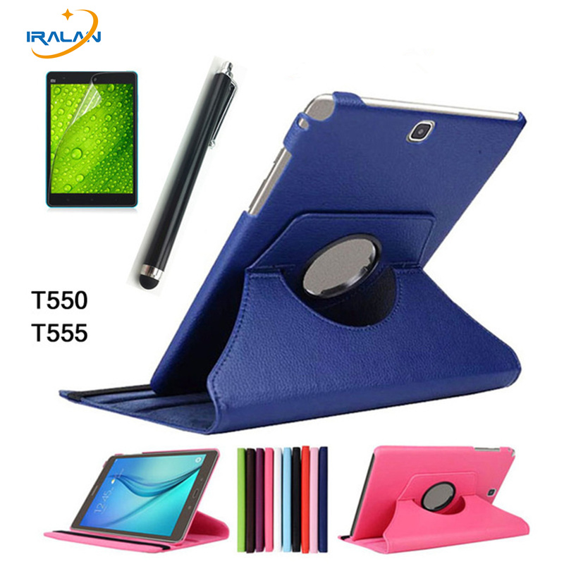 For Samsung Galaxy Tab A 9.7 T550 T555 PU Leather 360 Rotating Stand Case Cover for Galaxy Tab A 9.7 inch Tablet +Stylus+film case for samsung galaxy tab a 9 7 inch tablet sm t555 t550 555 550 hybrid stand hard silicone rubber armor case cover gift 3in1