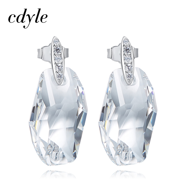 Cdyle Crystals from Swarovski S925 Sterling Silver Jewelry Dangle Earrings Women Earrings Austrian Rhinestone Chic Fashion New pair of chic faux crystals rhinestone stud earrings for women
