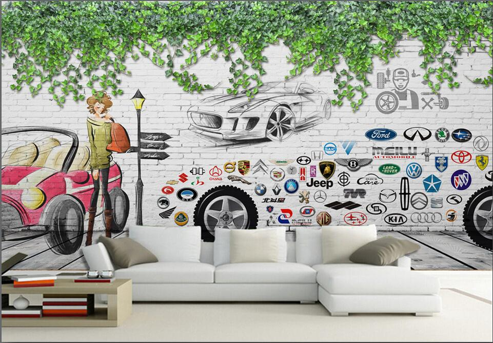 Custom photo mural 3d wallpaper A variety of car signs picture Room decoration painting 3d wall murals wallpaper for walls 3 d modern creative quality acylic led dinning room pendant lamp home decoration lighting fixture with led free shipping 110v 220v