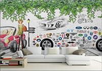 Tùy chỉnh ảnh bức tranh 3d hình nền Một loạt các xe dấu hiệu hình ảnh trang trí phòng tranh 3d tranh treo tường hình nền cho bức tường 3 d