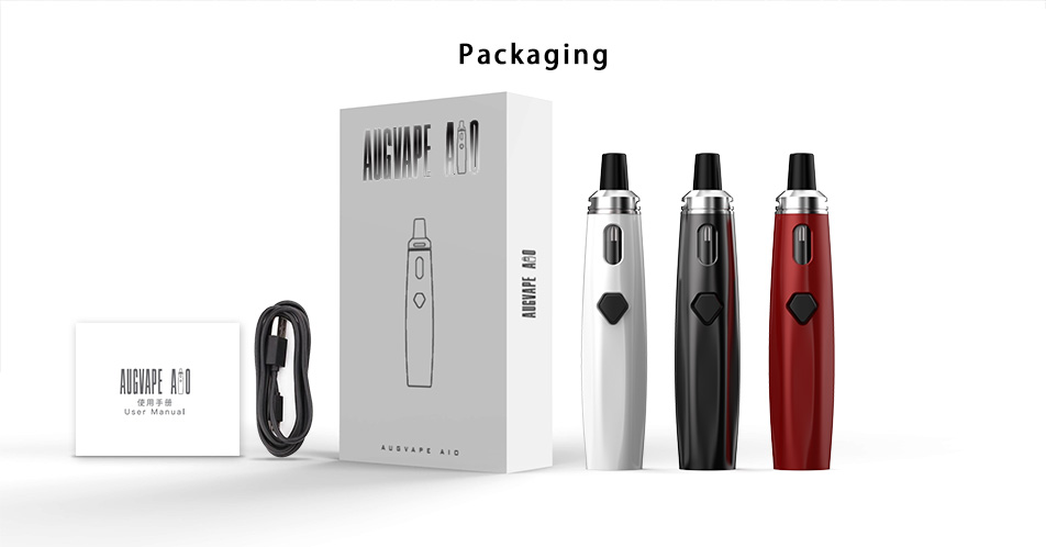 , Augvape AIO Kit EGO Vape Pen 0.6ohm Single Coil 2ml Built-in 1500mAh Battery 30W LED Indicator All in One Electronic Cigarette