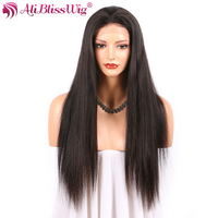 AliBlissWig Straight Full Lace Human Hair Wigs With Baby Hair 130 Density Natural Color Glueless Brazilian