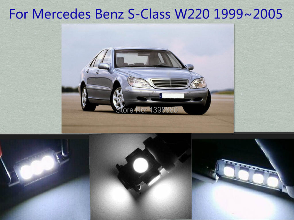 Error Free Canbus 17PCS White LED Interior Package kit For S-Class W220 1999~2005 Map Dome Box Trunk Courtesy Tag Lights