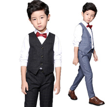 Boys Formal Tuxedo Dress Suits kids Weeding Vest Pants 2pcs Costumes Children Birthday Gift Boys Piano Performance Prom Suits