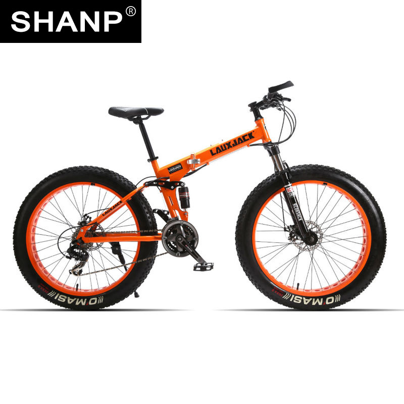 Lauxjack mining double-layer bicycle steel folding frame 24 speeds shimano mechanical disc wheel disc brakes 26 x4.0 fat bike lauxjack mountain fat bike steel frame