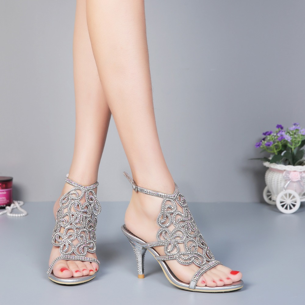In summer, the new style of pure hand-inlaid sandals, sexy stilettos, high-grade water drill women's shoes bride of the water god v 3