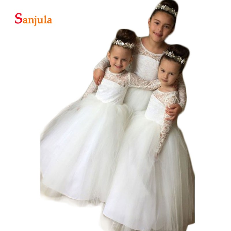 Lace Long Sleeve   Flower     Girls     Dresses   O-Neck A-Line Tulle   Dresses   for   Girls   Communion Party Gowns vestido de daminha D78