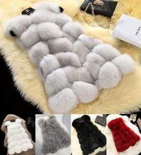 Fashion Women's Warm Outwear Slim Vest Faux Fox Fur Winter Waistcoat Jacket Coat