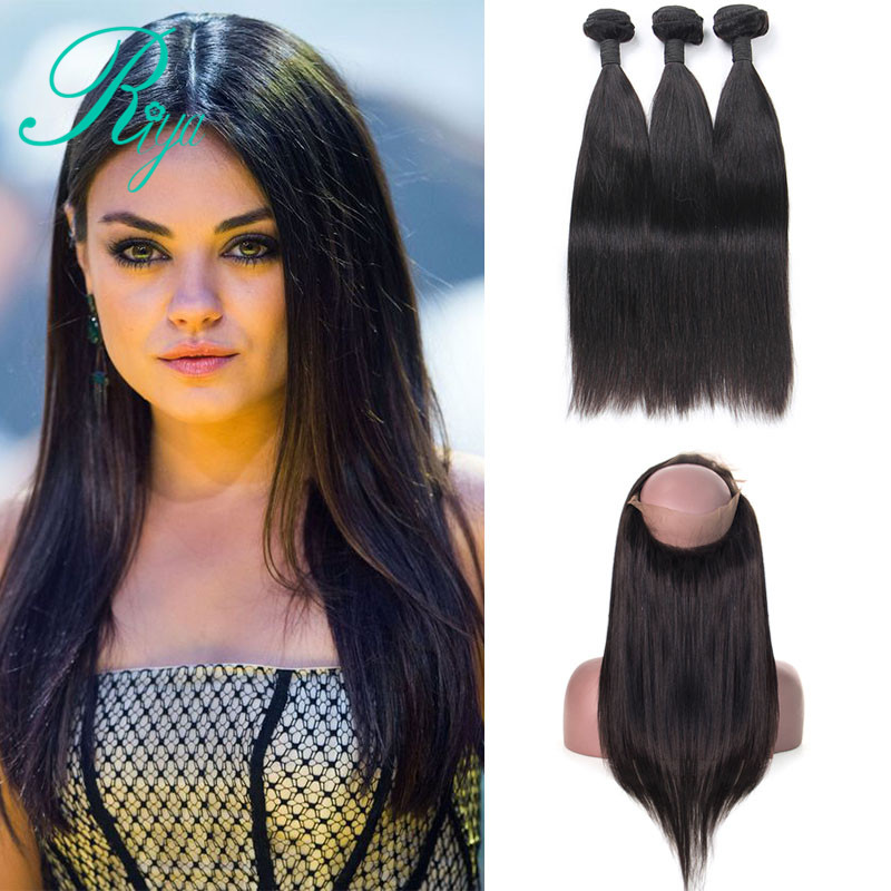 Riya Hair Brazilian Straight Hair 3/ 4 Bundles With 360 Lace Frontal Pre Plucked Closure Natural Color Remy Hair