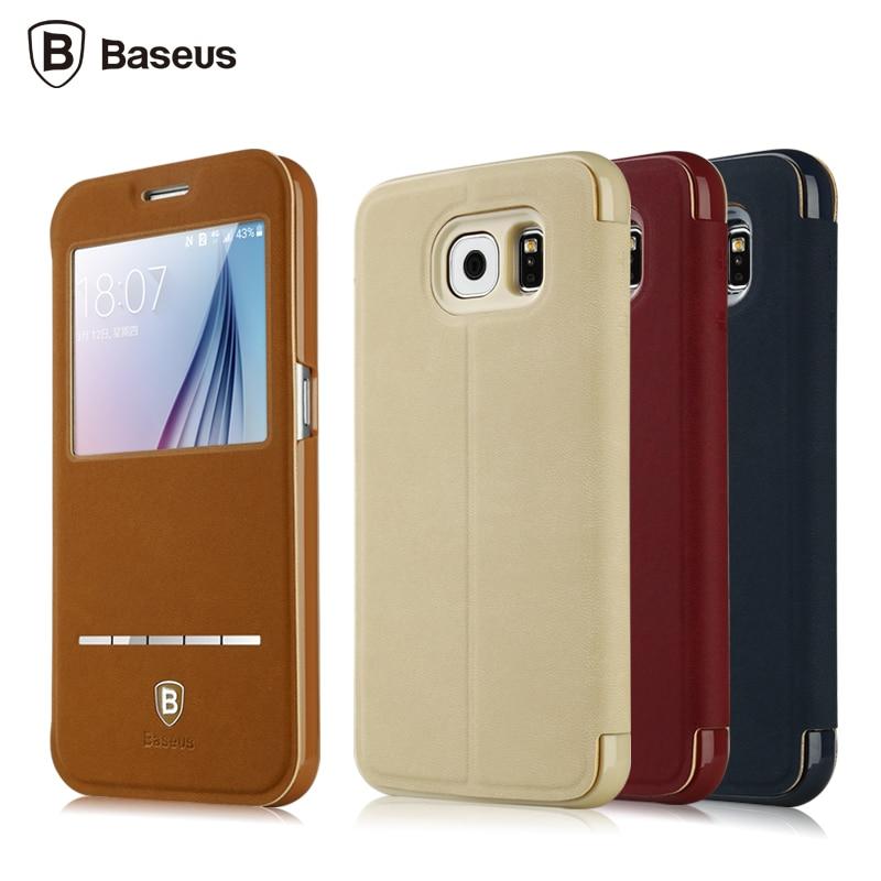 Luxury <font><b>BASEUS</b></font> Brand Logo Terse Leather Smart cover <font><b>for</b></font> <font><b>Samsung</b></font> <font><b>Galaxy</b></font> S6 case Slim Stand <font><b>Full</b></font> protective Shell <font><b>for</b></font> <font><b>Galaxy</b></font> S6 bag