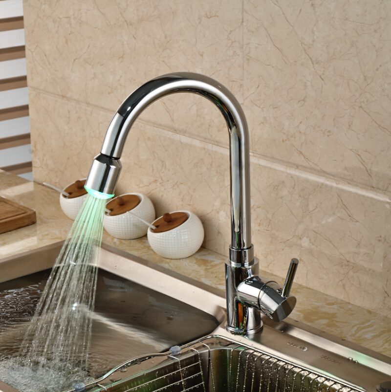 ФОТО Polished Chrome Pull Out LED Light Kitchen Sink Mixer Water Faucet Deck Mount Kitchen Hot and Cold Water Taps