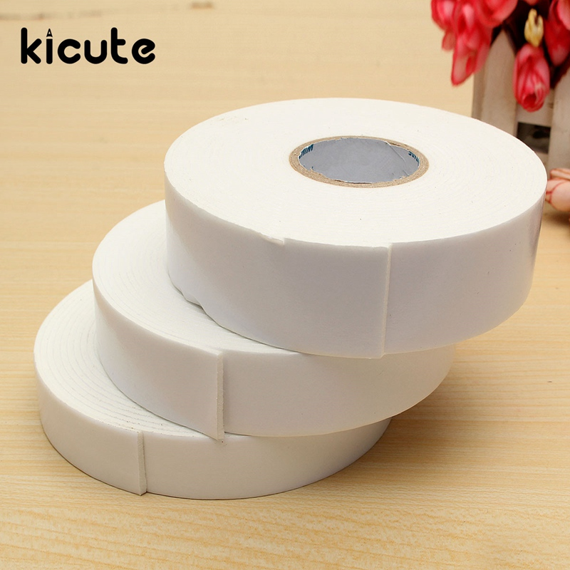 Kicute New 36/30/24mm 5M White Sponge Strong Double Sided Adhesive Tape Wall Mounting Tape Sticky Foam Self Adhesive Tape Supply 1pcs 45mm x 5mm single sided self adhesive shockproof sponge foam tape 3 meters