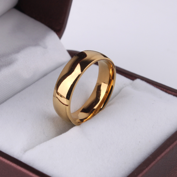 Hot Sale High Polish Gold Plate Titanium Steel Women Man Wedding Ring Top Quality Gloss Lovers Wedding Jewelry image