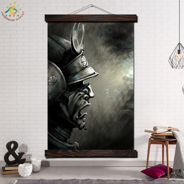 Samurai Damon Maske Gerahmt Scroll Malerei Moderne Leinwand Kunstdrucke Poster Wand Kunstwerk Kunst Bilder Wohnkultur