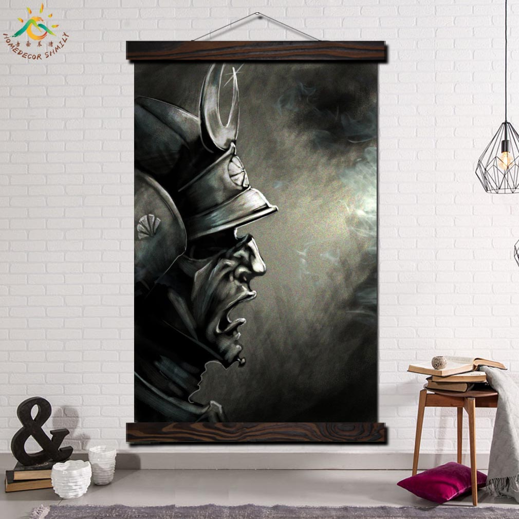 Us 5 46 28 Off Samurai Demon Mask Framed Scroll Painting Modern Canvas Art Prints Poster Wall Painting Artwork Wall Art Pictures Home Decor In