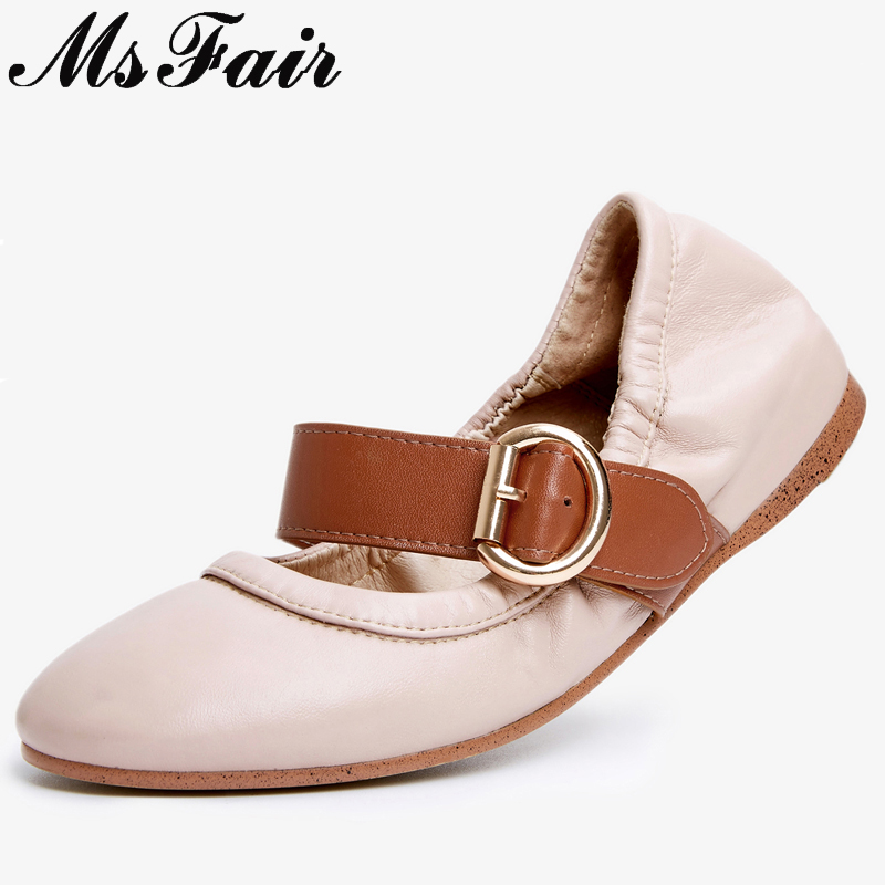 MsFair Natural Leather Women Ballet Flats Soft Bottom Flats Slip on Zapatos Mujer Ladies Shoes Fashion Women Ballet Flat Shoes women flats summer shoes fashion owl print canvas ladies ballet flat casual breathable slip on shoes zapatos mujer