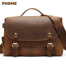 Retro european-style crazy horse leather bag for men single-shoulder handbag flip with briefcase