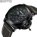 2017 Mens Watches Luxury Brand GIMTO Men Military Sport Chronograph Wristwatch Leather Quartz Watch Male hour Clock relogio masc