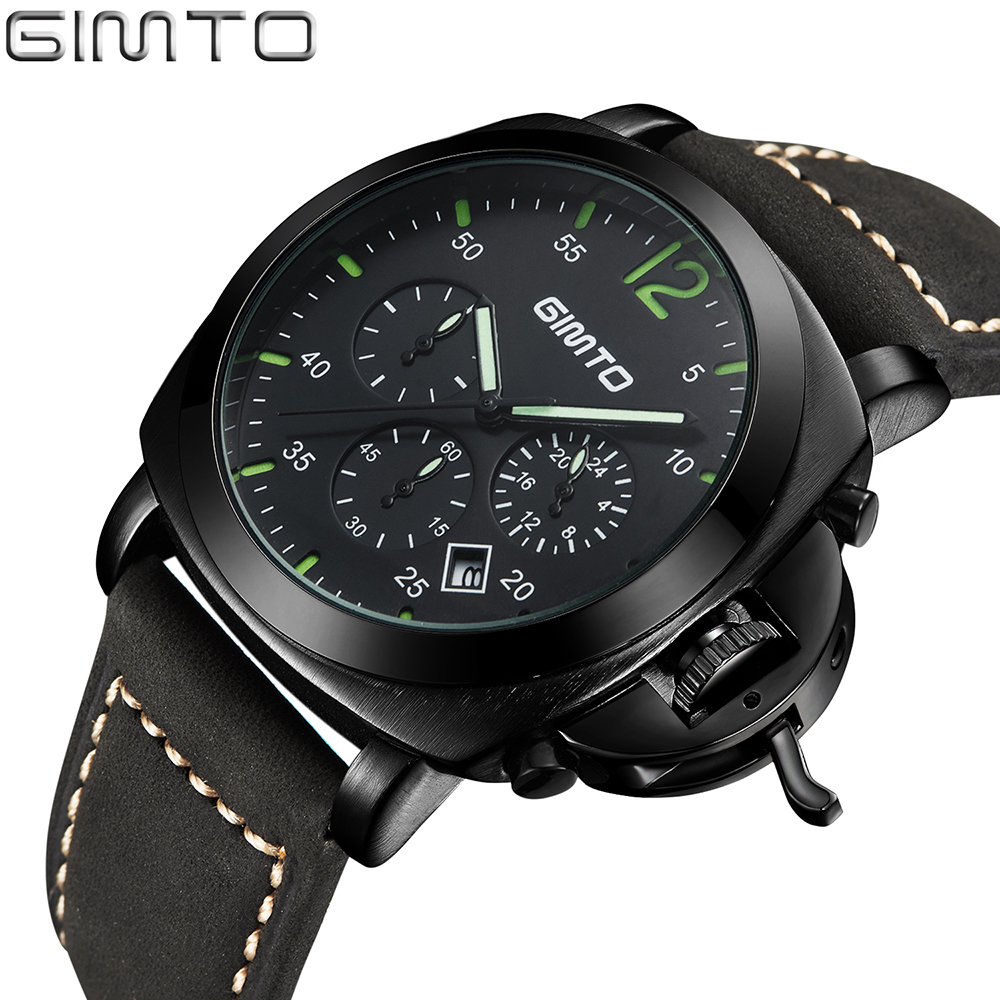 2018 Mens Watches Luxury Brand GIMTO Men Military Sport Chronograph Wristwatch Leather Quartz Watch Male hour Clock relogio masc high quality mens business quartz watch men sport military watch pu leather strap army wristwatch male casual clock hour relogio