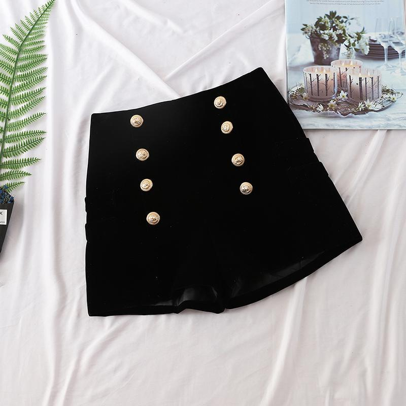 Double Breasted Velvet Shorts Women Outside 2018 New Autumn Wear High Waist Slim Casual Ladies Sexy Short Shorts Femme