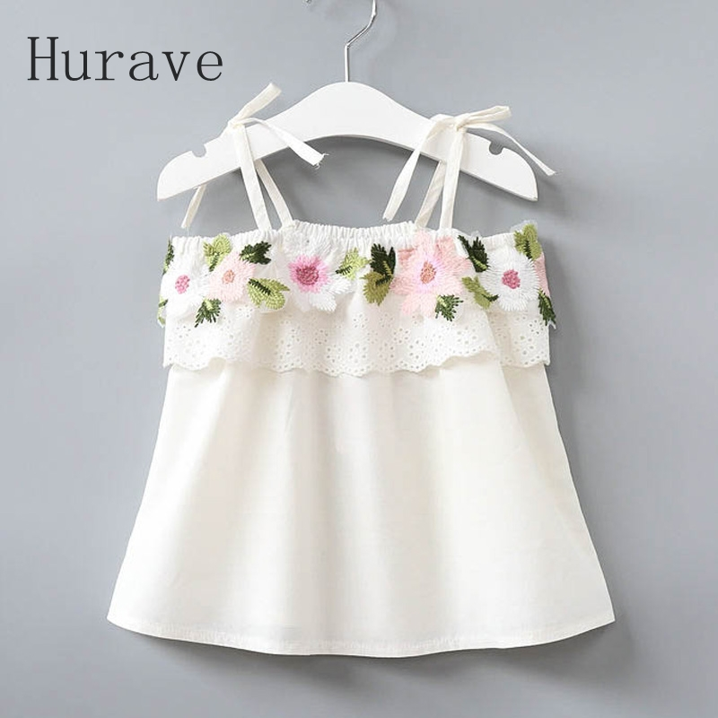 Hurave Girls shoulderless dress embroidery floral kids clothing children dress for girl fashion style cute vestidos