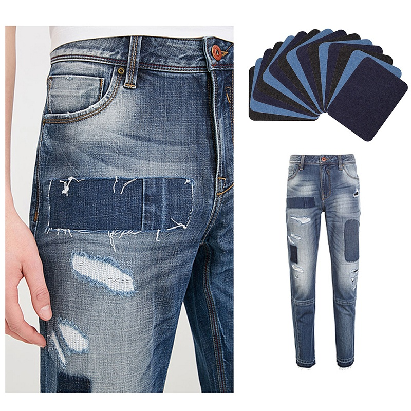 Iron-on Jeans Nylon Patches Denim Clothes Repair Decorative Stickers Gray