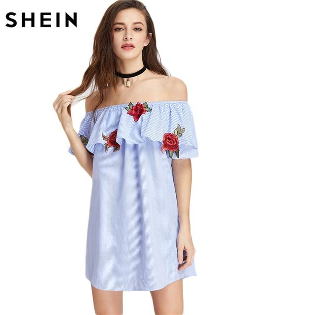 SHEIN Blue Off Shoulder Dress Embroidered Rose Patch Striped Flounce Bardot  Dress Summer Short Sleeve Sexy