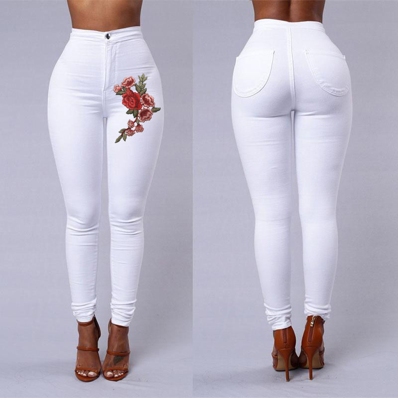 New Fashion Women High Waist Skinny Stretch Pencil Pants Long Slim Trousers Floral Embroidery Skinny Jeans hot sale new arrival men cutout jeans fashion embroidery pencil trousers