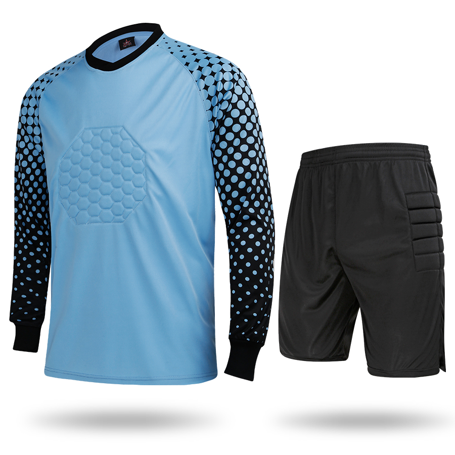 7c851e3a5 2017 New Style Men Full Goalkeeper Jerseys Kits Football Goalie Training  Suit Soccer Goal Keeper Protective Tops With Shorts Set