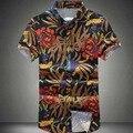 2016 Новый Мужчины Цветочные Рубашки М-6XL Моды Случайные Slim Fit Camisas Бизнес Платье Цветочный Принт Homme Рубашки