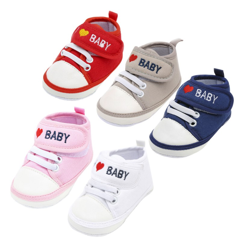 Toddler Letter Print Shoes For Newborn Baby Girl Boy Soft Sole First Walkers Casual Shoes 5 Colors