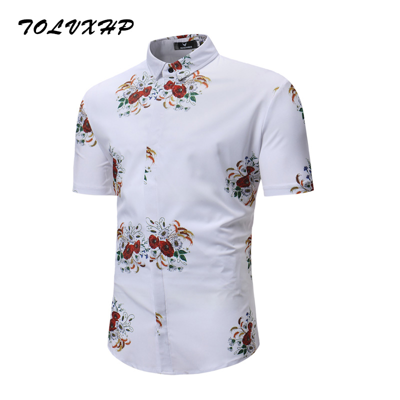 New Arrival Mens Hawaiian Shirt 2018 Male Casual Camisa Masculina White Printed Beach Shirts Short Sleeve Brand Clothing 3XL