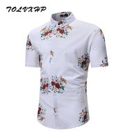 New Arrival Mens Hawaiian Shirt 2018 Male Casual Camisa Masculina White Printed Beach Shirts Short Sleeve