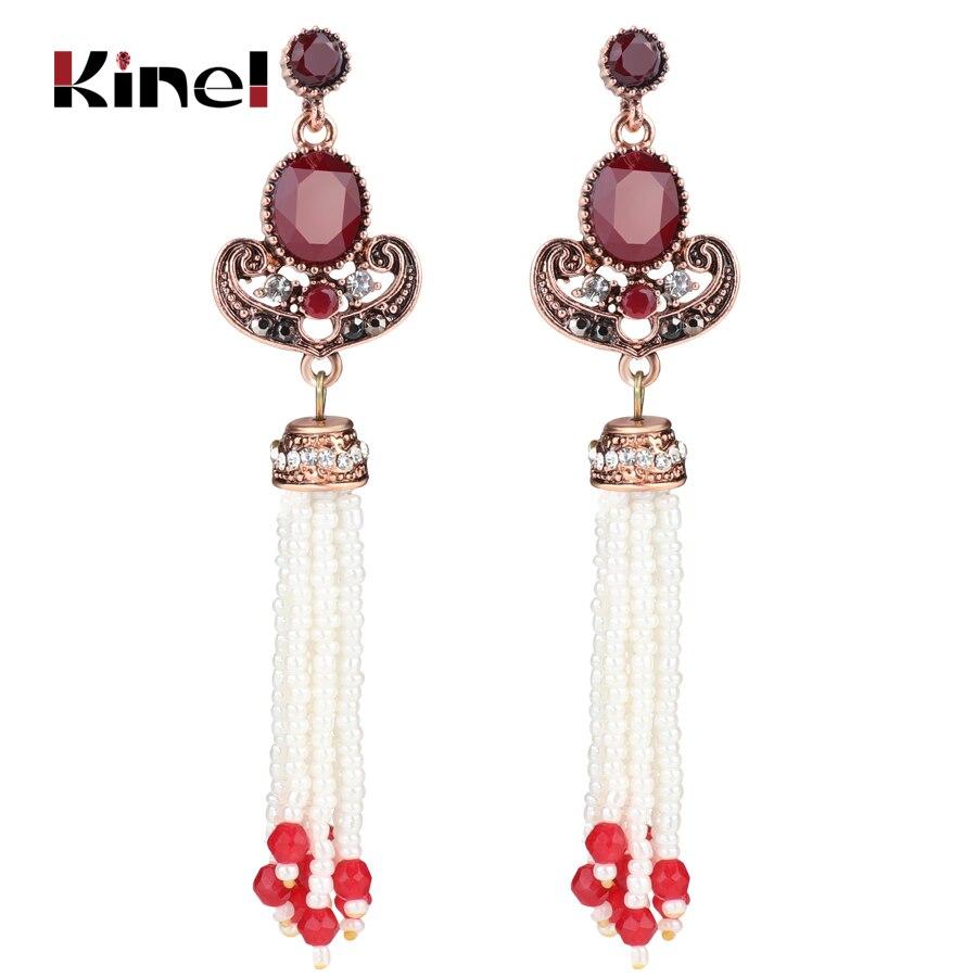US $3 24 35% OFF|Kinel New Indian Tassel Earrings Antique Gold Crystal  Christmas Gifts Long Drop Earrings For Women Vintage Jewelry Wholesale-in  Drop