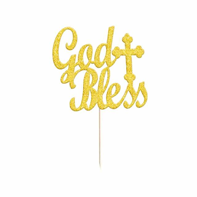Us 3 99 20x Glitter Gold Silver God Bless Cross Cake Topper Christening Baptism Table Decorations In Cake Decorating Supplies From Home Garden